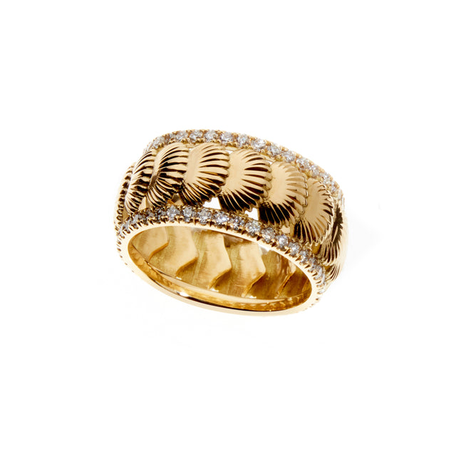 Yellow gold and diamond shell eternity ring. Part of the Sirena collection by Biagio Patalano.