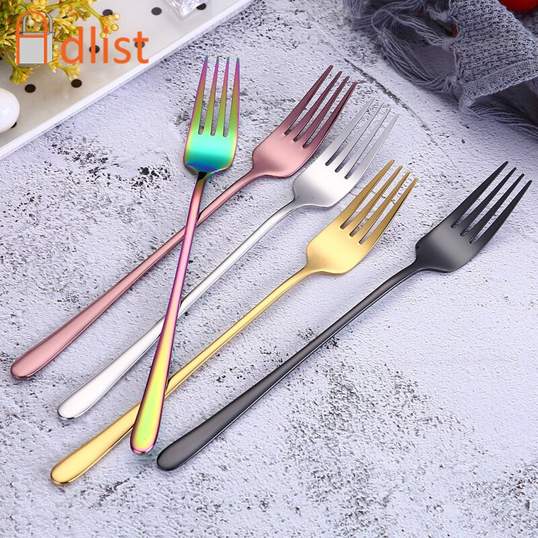 2pcs Laguiole Stainless Steel Salad Fork Spoon Set Dessert Cutlery in Wood Base