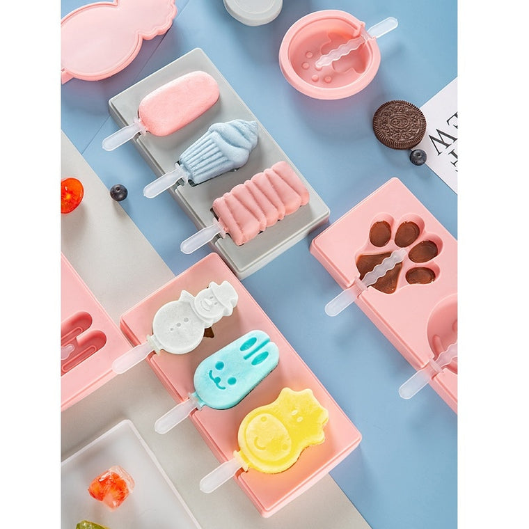 4 Grids Reusable Silicone Popsicle Maker Mould Frozen Ice Cream Mold DIY Tool White S