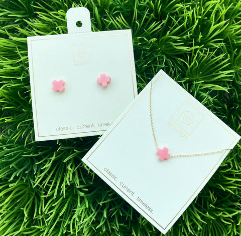 Light Pink Cross Earring