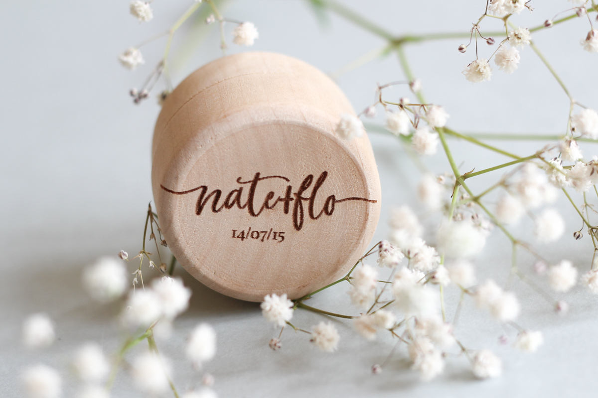 fira-site - Personalised Script Wooden Wedding Ring Box