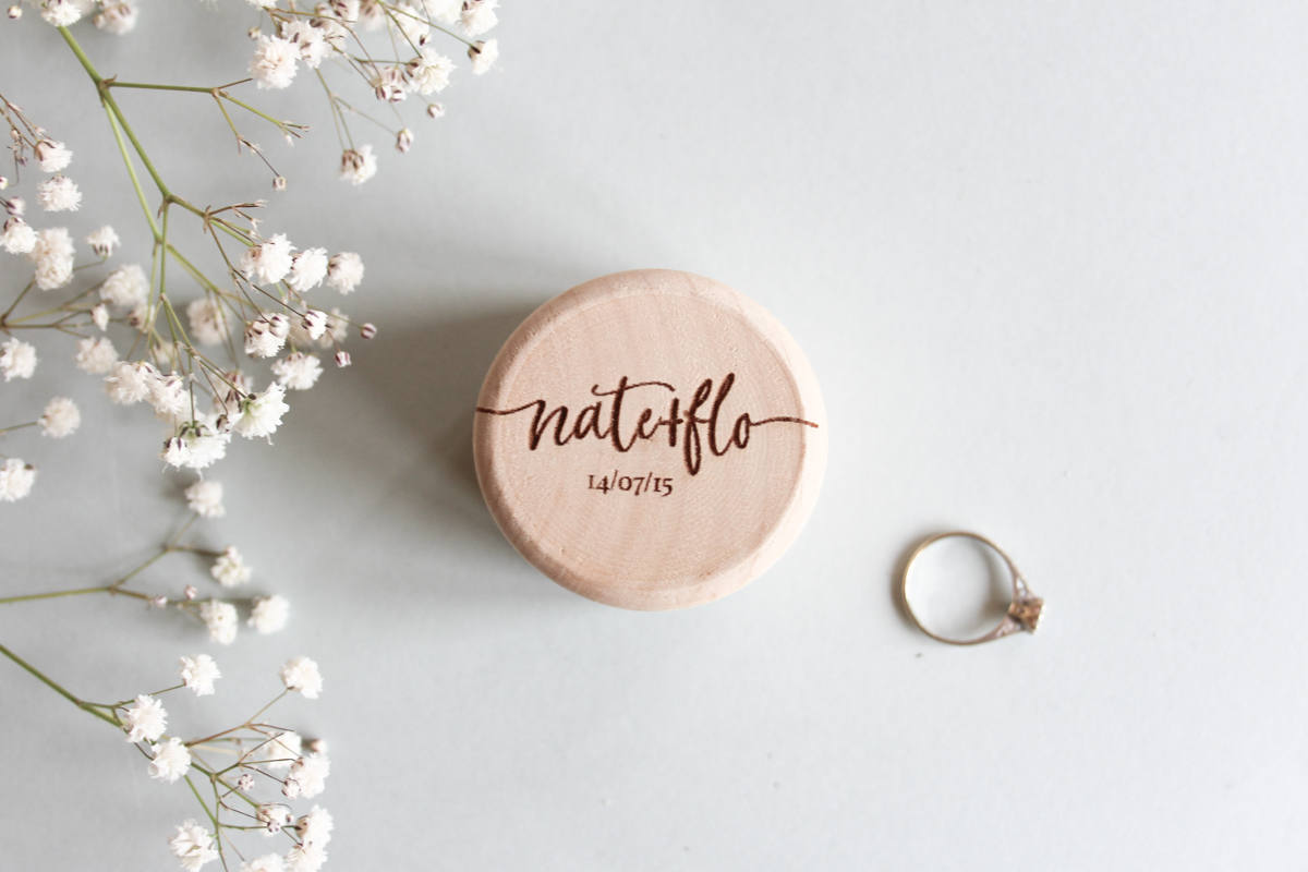 Custom Wood Ring Box, Personalised Wooden Ring Box