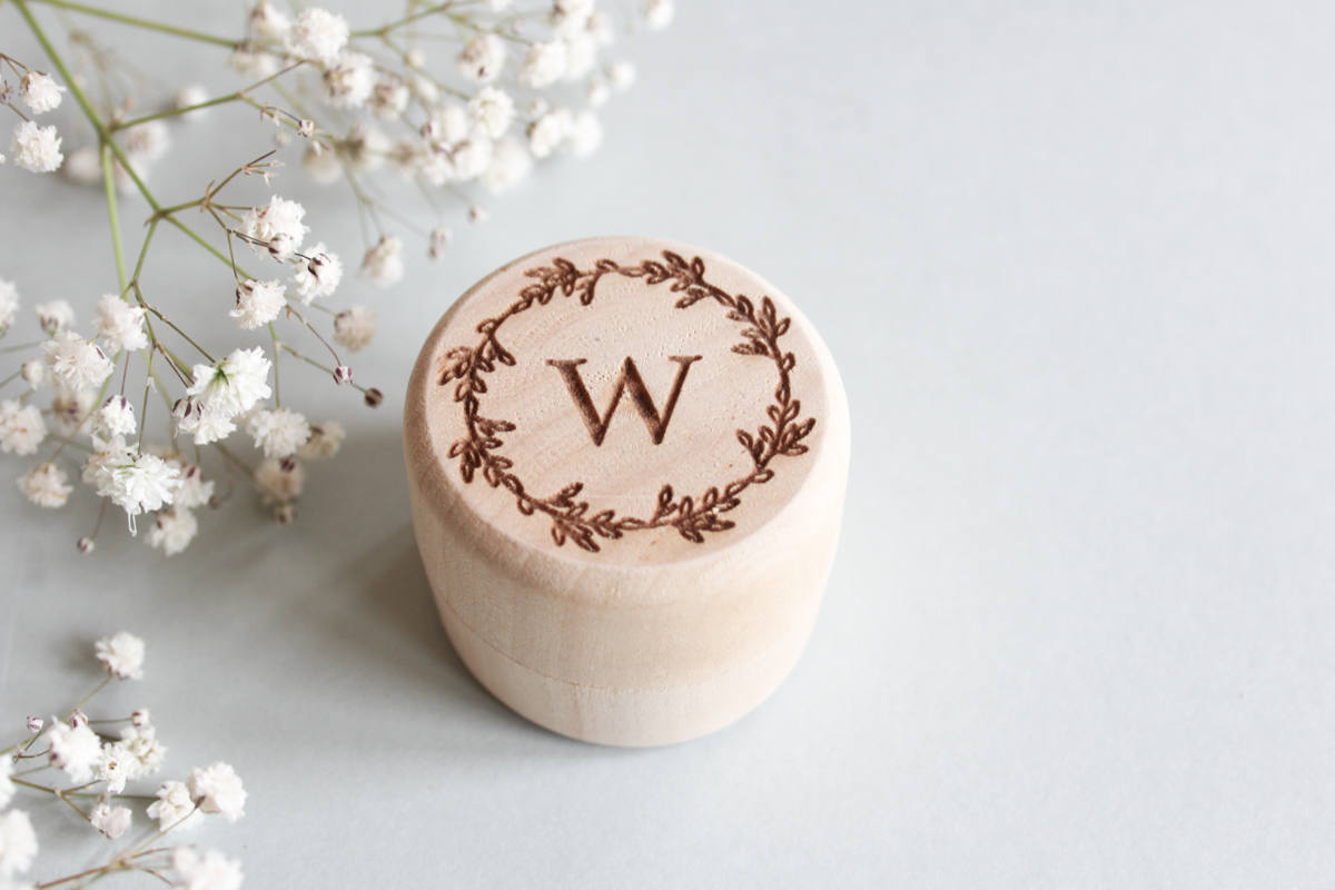 fira-site - Personalised Monogram Wedding Ring Box Made From Wood