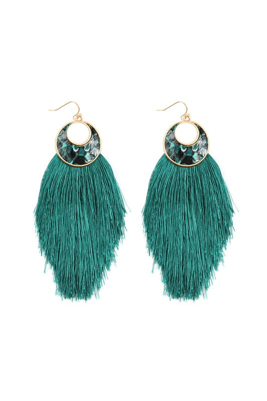 Green Crescent Shape Snake Skin Print Tassel Drop Earrings