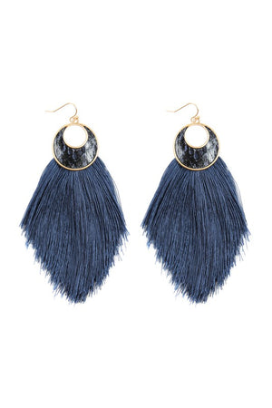 Navy Crescent Shape Snake Skin Print Tassel Drop Earrings