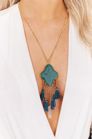 Turquoise Tassel and Stone Necklace