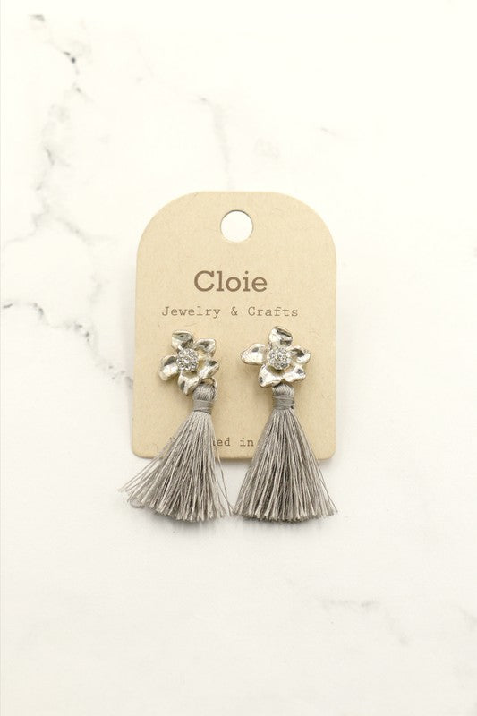 Grey Tiny Flower Tassel