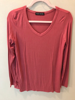 Pink Marsala Long Sleeve V-Neck