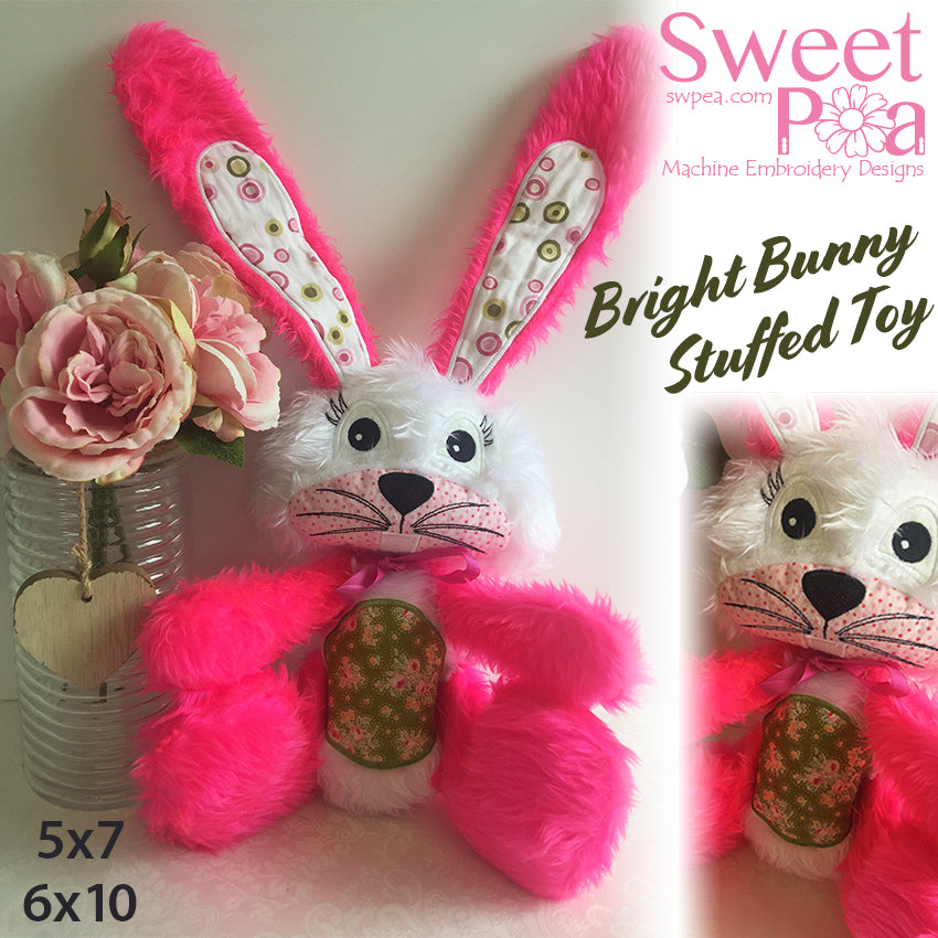Bright bunny stuffie 5x7 6x10 in the hoop