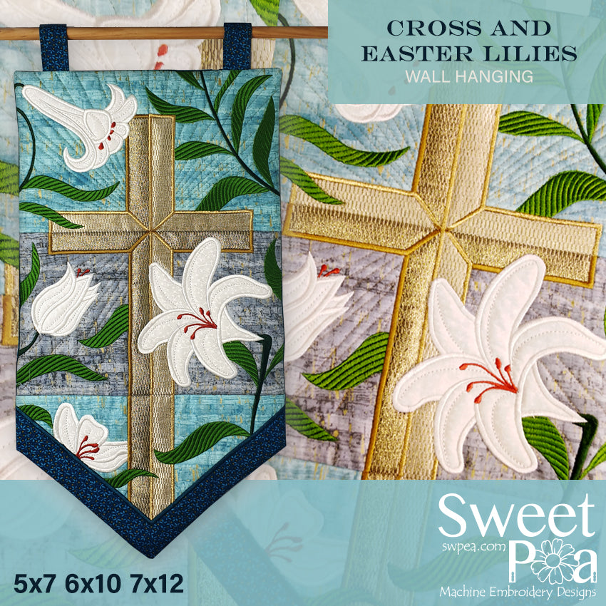 Cross and Easter Lilies Wall Hanging 5x7 6x10 7x12 in the hoop