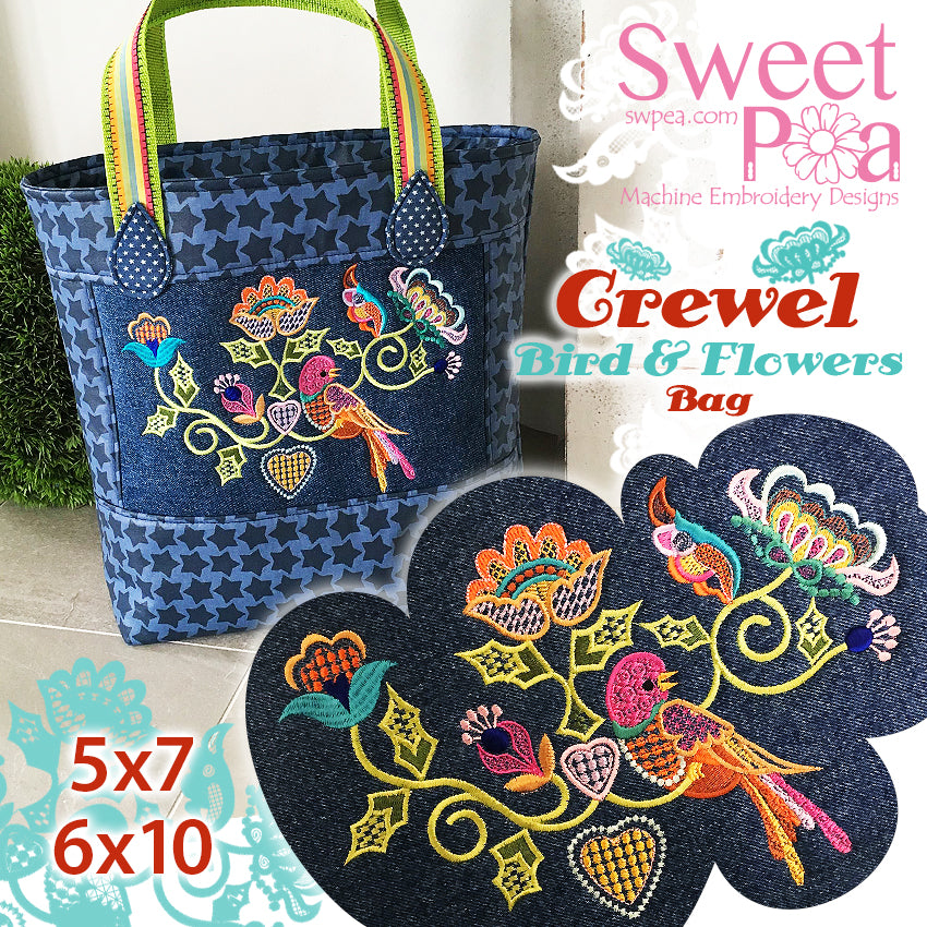 Crewel Bird and Flowers bag 5x7 6x10 in the hoop (1)