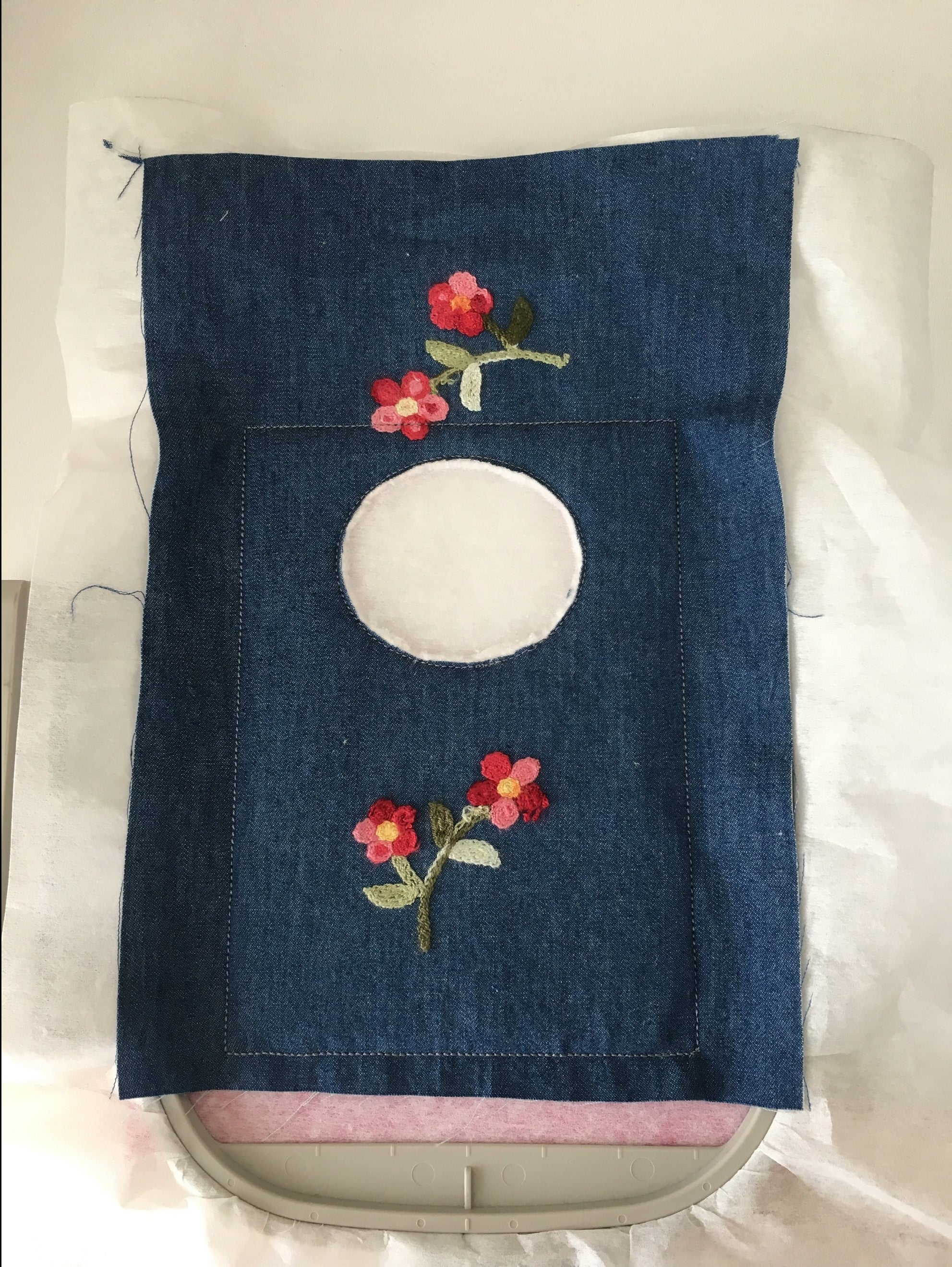 machine embroidery in the hoop pegbag