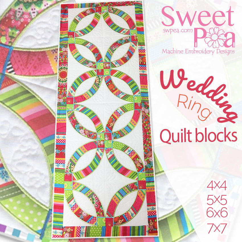 Wedding Rings Quilt and Block 4x4 5x5 6x6 7x7 in the hoop