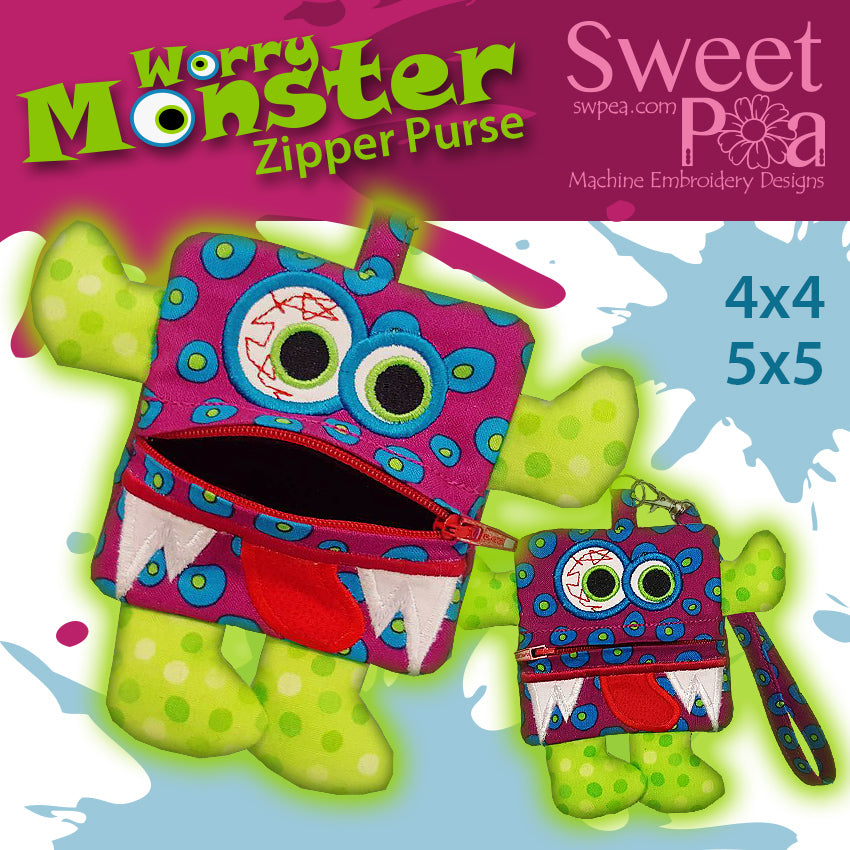 machine embroidery design worry monster purse