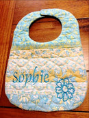 Jelly Roll Bib 5x7 6x10 and 7x12 - Sweet Pea In The Hoop Machine Embroidery Design