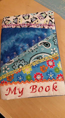 Crazy patchwork book cover 6x10 7x12 and 9.5x14 - Sweet Pea In The Hoop Machine Embroidery Design