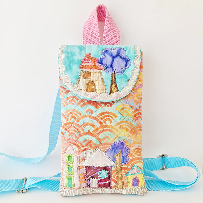 Quilted House Backpack Bag 6x10 7x12 and 8x12