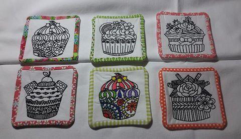 Painted Cupcake Coasters Colouring in 4x4 5x5 - Sweet Pea In The Hoop Machine Embroidery Design