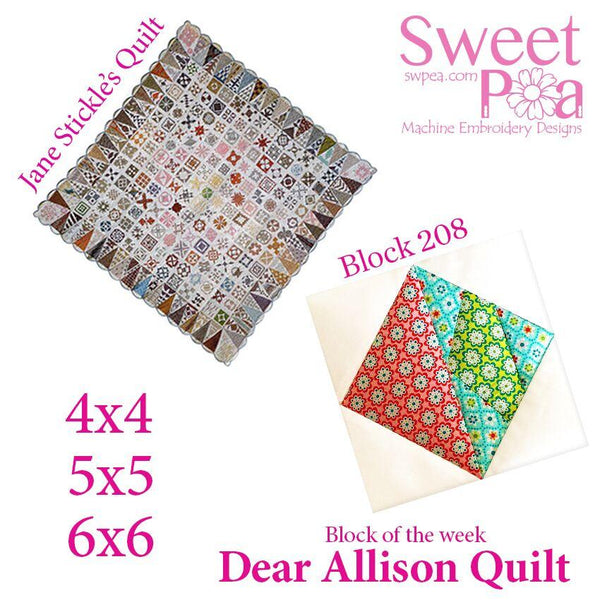 Dear Allison quilt block 208 in the 4x4 5x5 6x6 - Sweet Pea In The Hoop Machine Embroidery Design
