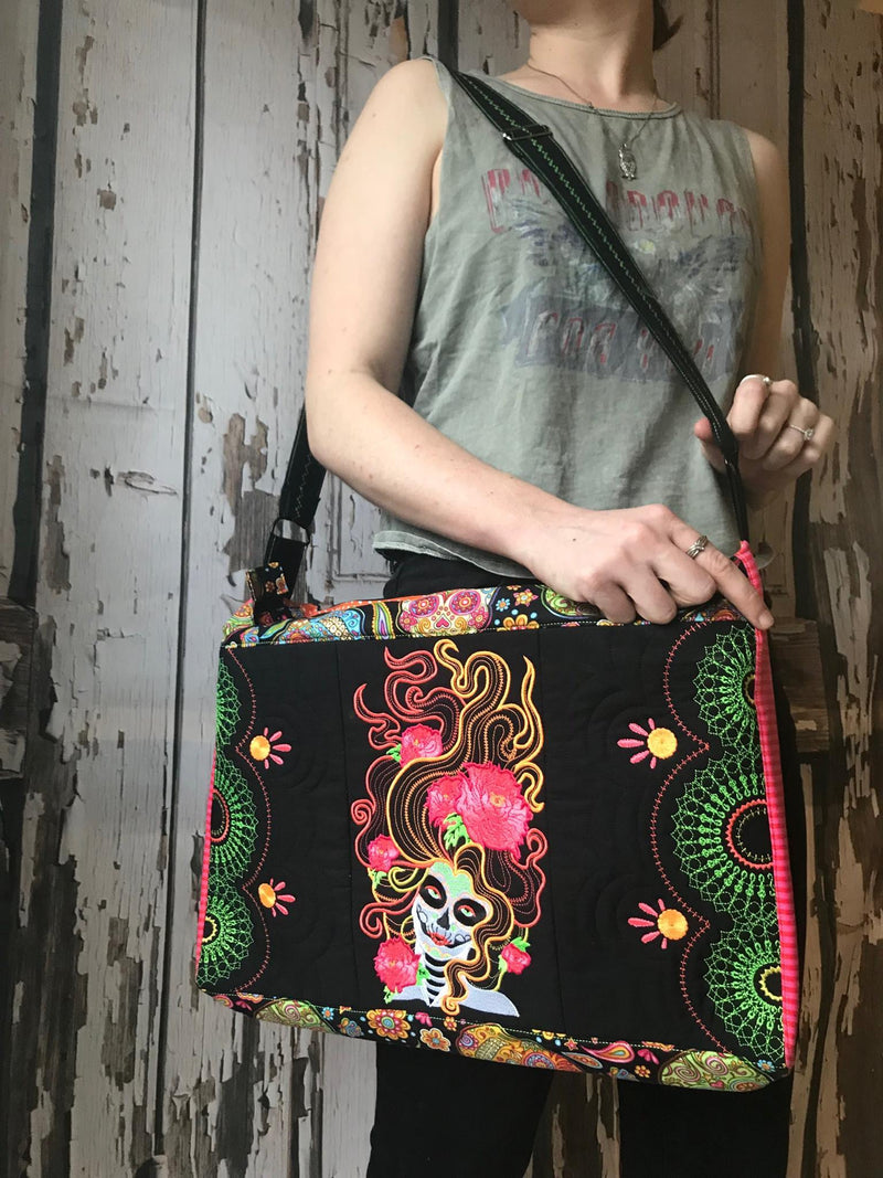 Day of the Dead laptop bag 5x7 6x10 7x12 - Sweet Pea In The Hoop Machine Embroidery Design