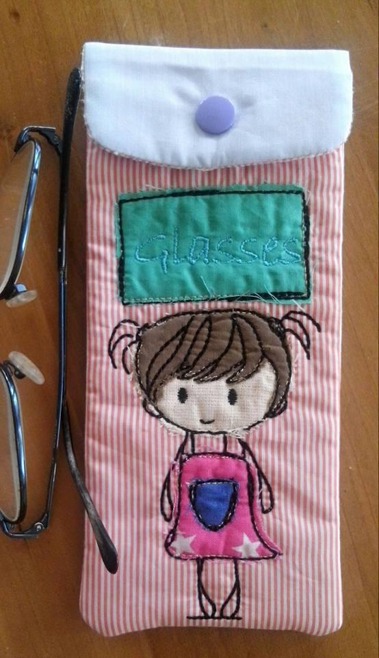 Girl Glasses Case 6x10 - Sweet Pea In The Hoop Machine Embroidery Design