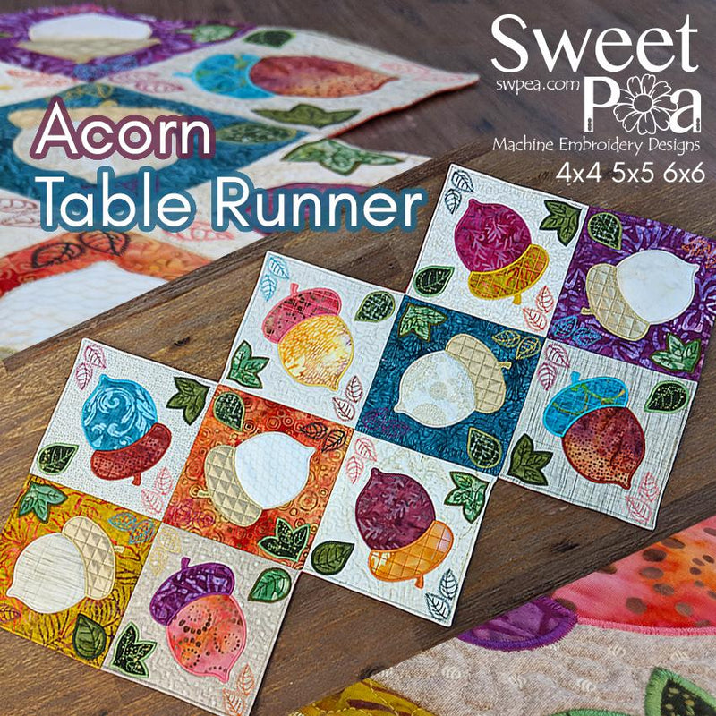 Acorn Table Runner 4x4 5x5 and 6x6 - Sweet Pea In The Hoop Machine Embroidery Design
