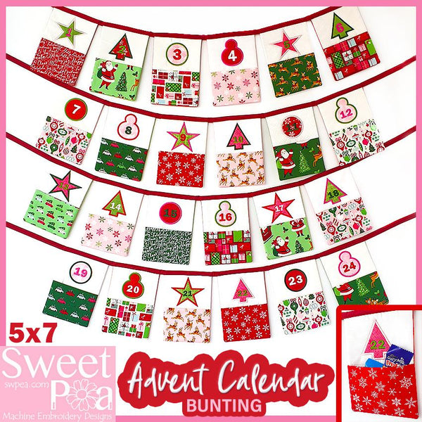 Advent Calendar Christmas Bunting 5x7 - Sweet Pea In The Hoop Machine Embroidery Design