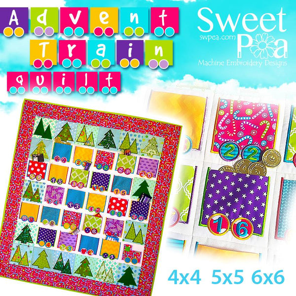Advent Train Quilt 4x4 5x5 6x6 - Sweet Pea In The Hoop Machine Embroidery Design
