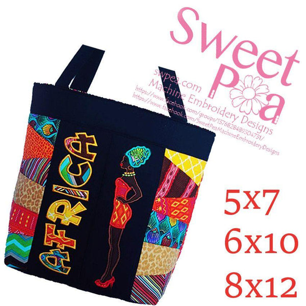 African Dream Tote Bag 5x7 6x10 8x12 - Sweet Pea In The Hoop Machine Embroidery Design