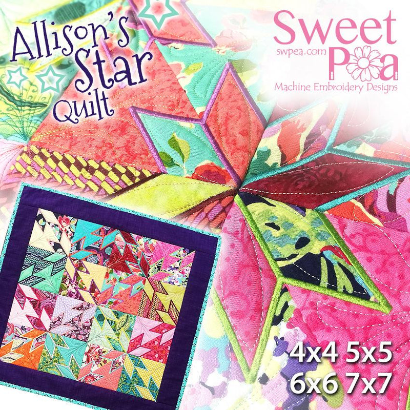 Allison's Star Blocks and Quilt 4x4 5x5 6x6 7x7 - Sweet Pea In The Hoop Machine Embroidery Design