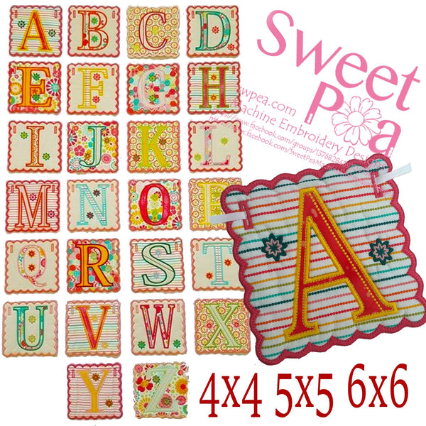 Alphabet Bunting 4x4 5x5 6x6 - Sweet Pea In The Hoop Machine Embroidery Design