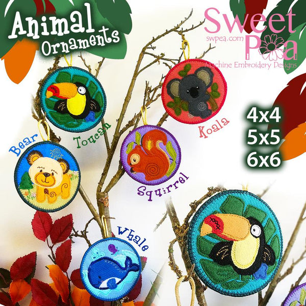 Animal Ornaments 4x4 5x5 6x6 - Sweet Pea In The Hoop Machine Embroidery Design