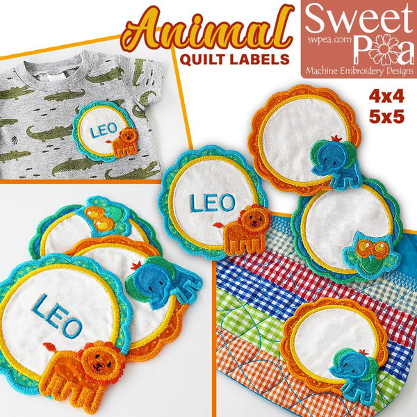 Animal Quilt Labels 4x4 5x5 - Sweet Pea In The Hoop Machine Embroidery Design