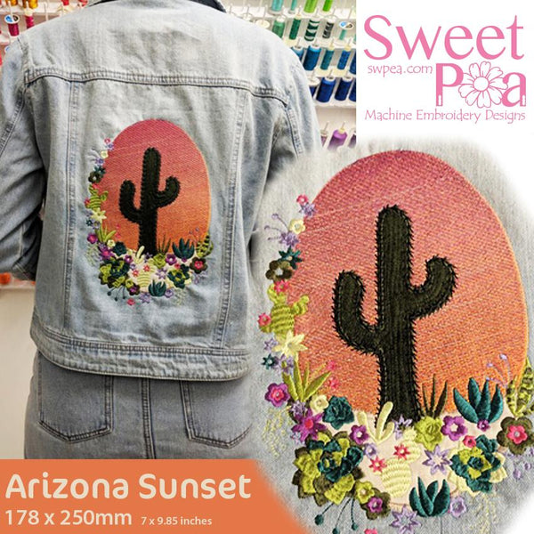 Arizona Sunset Embroidery Design - Sweet Pea In The Hoop Machine Embroidery Design