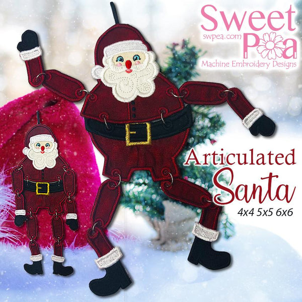 Articulated Santa 4x4 5x5 6x6 - Sweet Pea In The Hoop Machine Embroidery Design