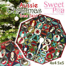 Aussie Christmas Tree Skirt 4x4 and 5x5 - Sweet Pea In The Hoop Machine Embroidery Design