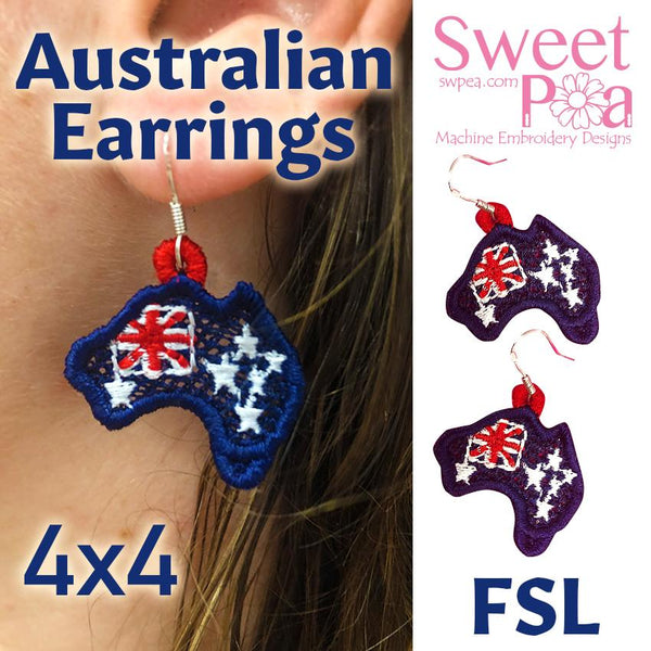 Australia FSL Earrings In The Hoop 4x4 - Sweet Pea In The Hoop Machine Embroidery Design