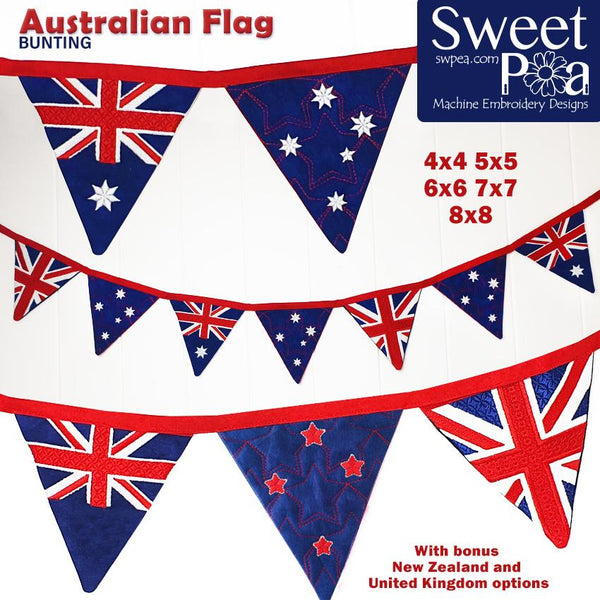 Australian Flag Bunting 4x4 5x5 6x6 7x7 8x8 - Sweet Pea In The Hoop Machine Embroidery Design