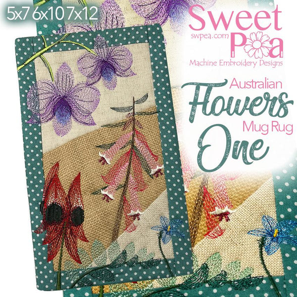 Australian Flowers Mug Rug #1 - Sweet Pea In The Hoop Machine Embroidery Design