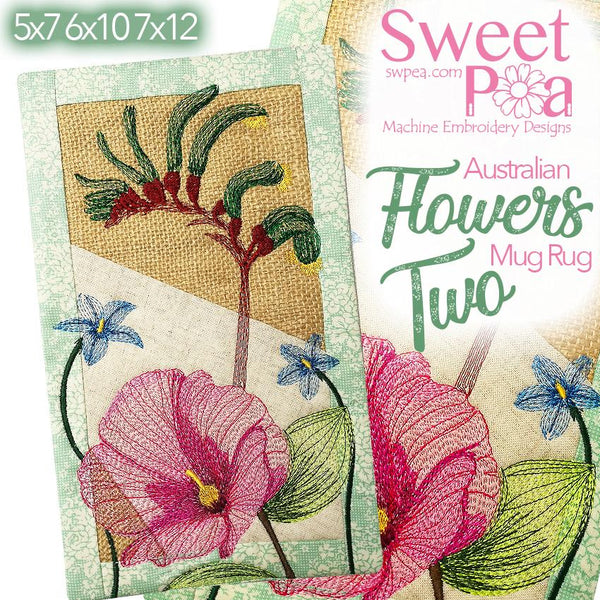 Australian Flowers Mug Rug # 2 - Sweet Pea In The Hoop Machine Embroidery Design