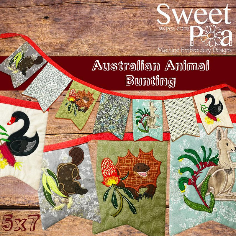Australian Animal bunting 5x7 - Sweet Pea In The Hoop Machine Embroidery Design
