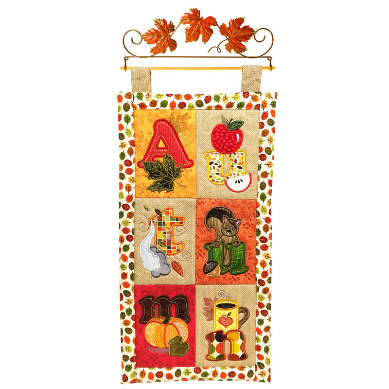 Autumn Leaf Quilt Wire Hanger 12in