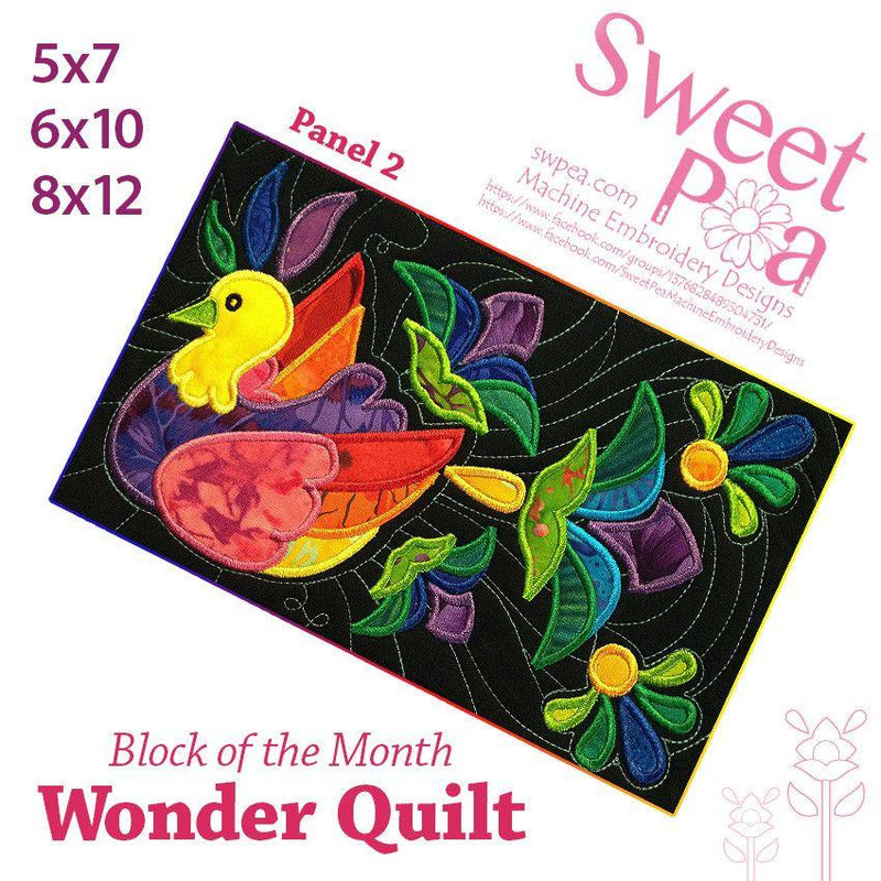 BOM Block of the month wonder quilt block 2 - Sweet Pea In The Hoop Machine Embroidery Design