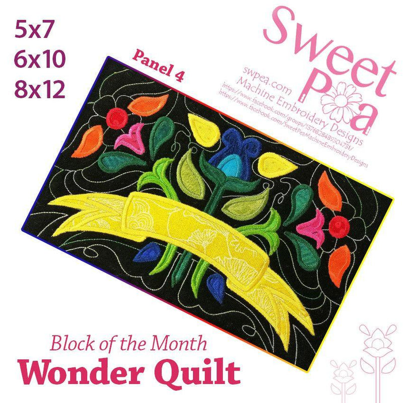 BOM Block of the month wonder quilt block 4 - Sweet Pea In The Hoop Machine Embroidery Design