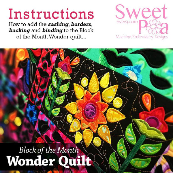 BOM Block of the month wonder quilt How to Add Sashing and Borders - Sweet Pea In The Hoop Machine Embroidery Design