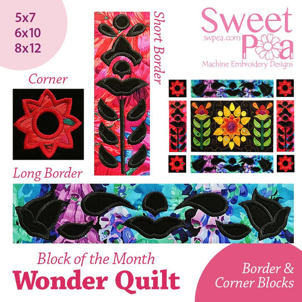 BOM Block of the month wonder quilt Sashing and Borders - Sweet Pea In The Hoop Machine Embroidery Design