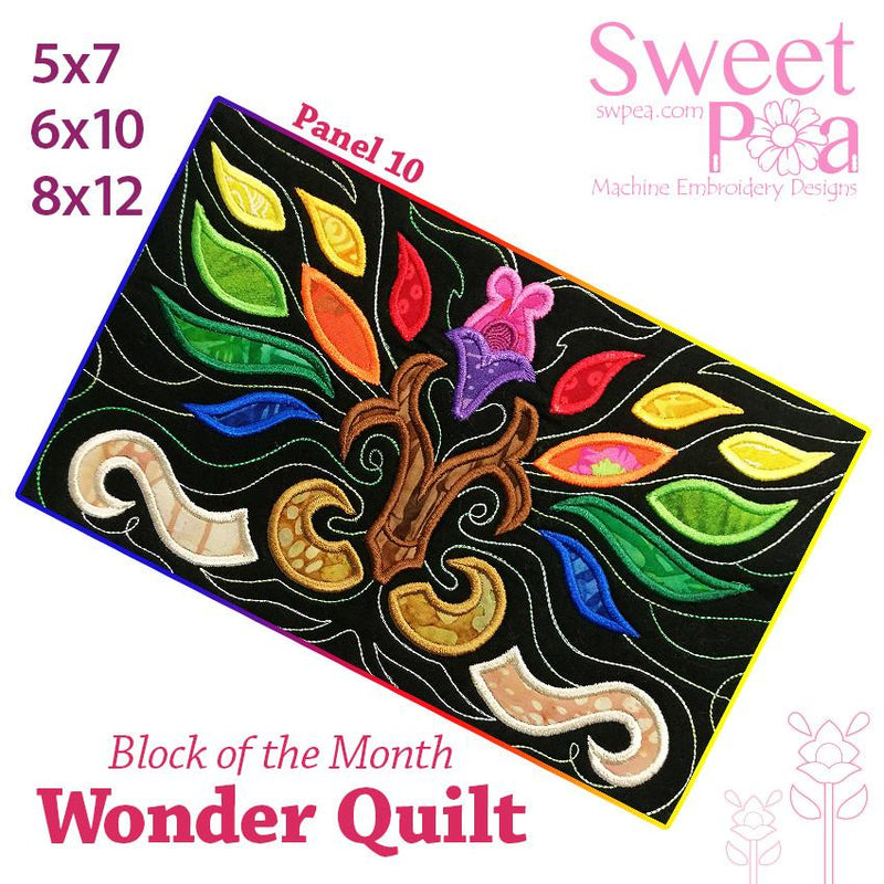 BOM Block of the month wonder quilt block 10 - Sweet Pea In The Hoop Machine Embroidery Design