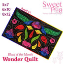 BOM Block of the month wonder quilt block 11 - Sweet Pea In The Hoop Machine Embroidery Design