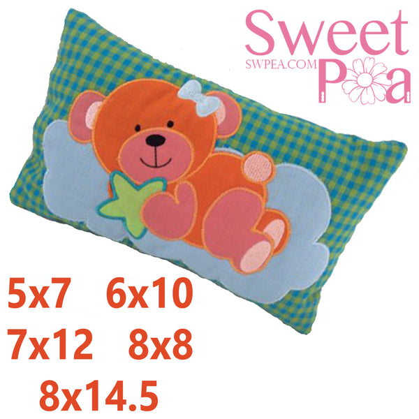 Baby Pillow Bear Wishes 5x7 6x10 7x12 8x8 8x14.5 - Sweet Pea In The Hoop Machine Embroidery Design