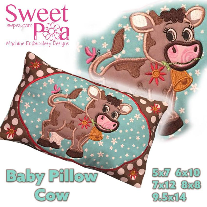 Baby Cow Pillow 5x7 6x10 7x12 8x8 9.5x14 - Sweet Pea In The Hoop Machine Embroidery Design